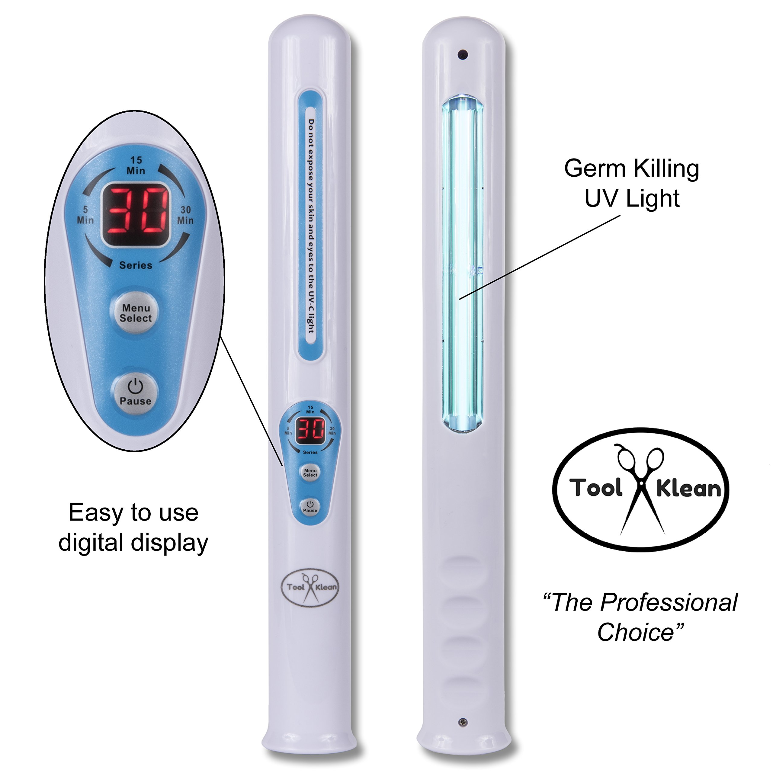 Tool Klean UV Light Stik, USA Company, The Professional Choice, Destroys Germs Fast, Destroys flea Eggs & Bed Bugs Quickly and Safely, Portable Great for Travel, Easy to use Digital Timer