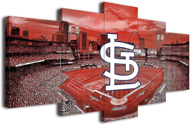 Saint Louis Cardinals Baseball Poster Canvas Prints Wall Art Decor Living Room Artwork Posters Bedroom Large Wall Art Picture (Wooden Framed,35x50x2pcs+35x75x2pcs+35x100cmx1pcs)