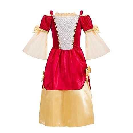 Katara - Disfraz de Princesa Medieval de niña, Traje de Doncella de la época Medieval