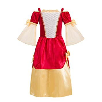 2c8b0eee2151 Katara - Royal Costume For Girls, Medieval Fancy Dress, Regal Tudor  Princess Outfit, Maid Marion Dress, Kids Renaissance Fairy Tale Gown - 4-5  years: ...
