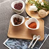 6PCS Small Porcelain Ramekins Condiment Dishes with Spoons, Ceramic Dipping Cups, Snack Appetizer Serving Tray, Sauce Dish Plate, Dessert and Ice Cream Bowls, White Heart with 6pcs Dish Holders