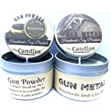 Combo - 4 Ounce Gun Powder and Gun Metal Soy Candle Tins - Great Gift for Men