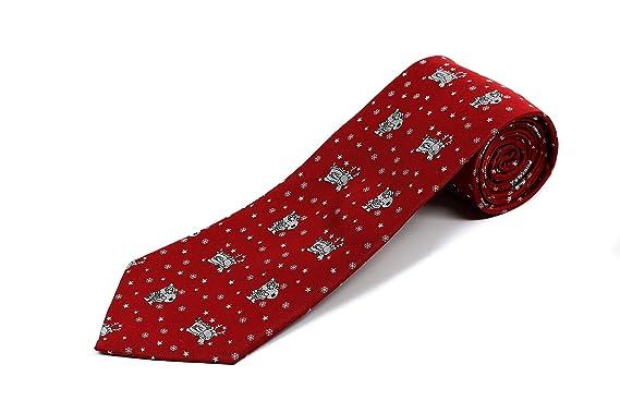 Corbata de Navidad 100% seda extra larga con reno y Papá Noel ...