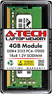 A-Tech 4GB DDR4 2133MHz SODIMM PC4-17000 1Rx8 Single Rank 260-Pin CL15 1.2V Non-ECC Unbuffered Notebook Laptop RAM Memory Upgrade Module