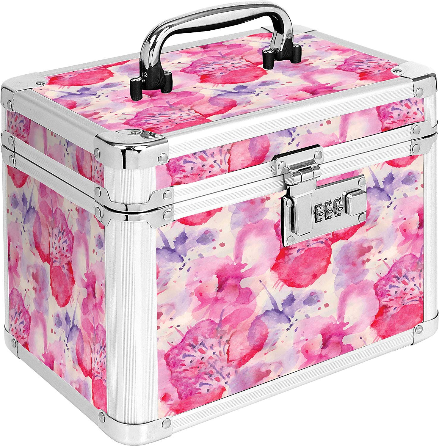 MOFUT Locking Personal Storage Box with Combination Lock and Carry Handle, Floral Design, 10 x 7.5 x 7 Inches