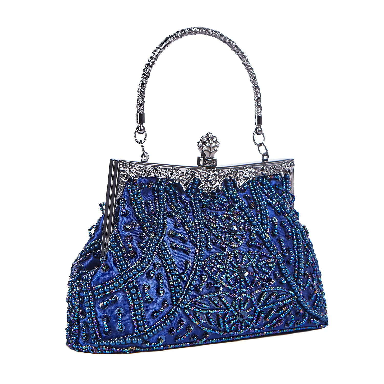 Fashion Vintage Style Handbag Beaded Sequined Evening Bag Wedding Party Handbag Rhinestone Clutch Purse (Blue)