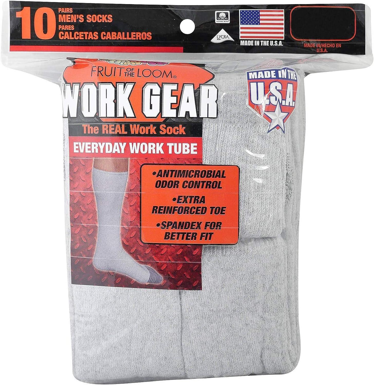 Fruit of the Loom Mens 10-Pair Everyday Work Gear Tube Socks