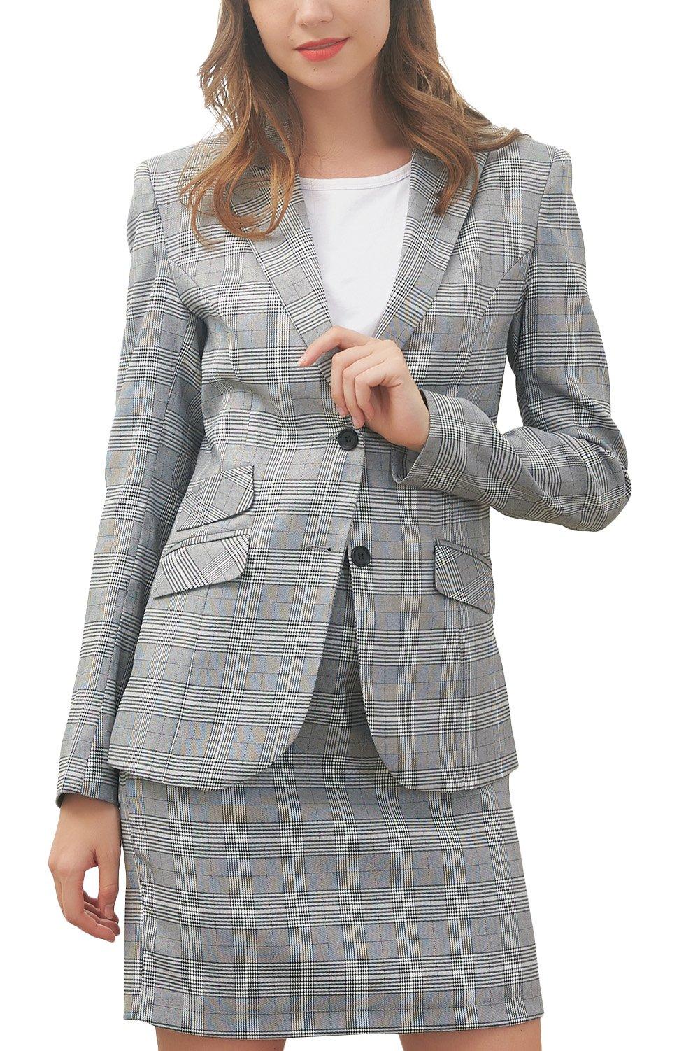 Hanayome Women's Suit Set Two Pieces Casual Tartan Blazer Slim Fit Short Dress MI5 (Grey, 16W)