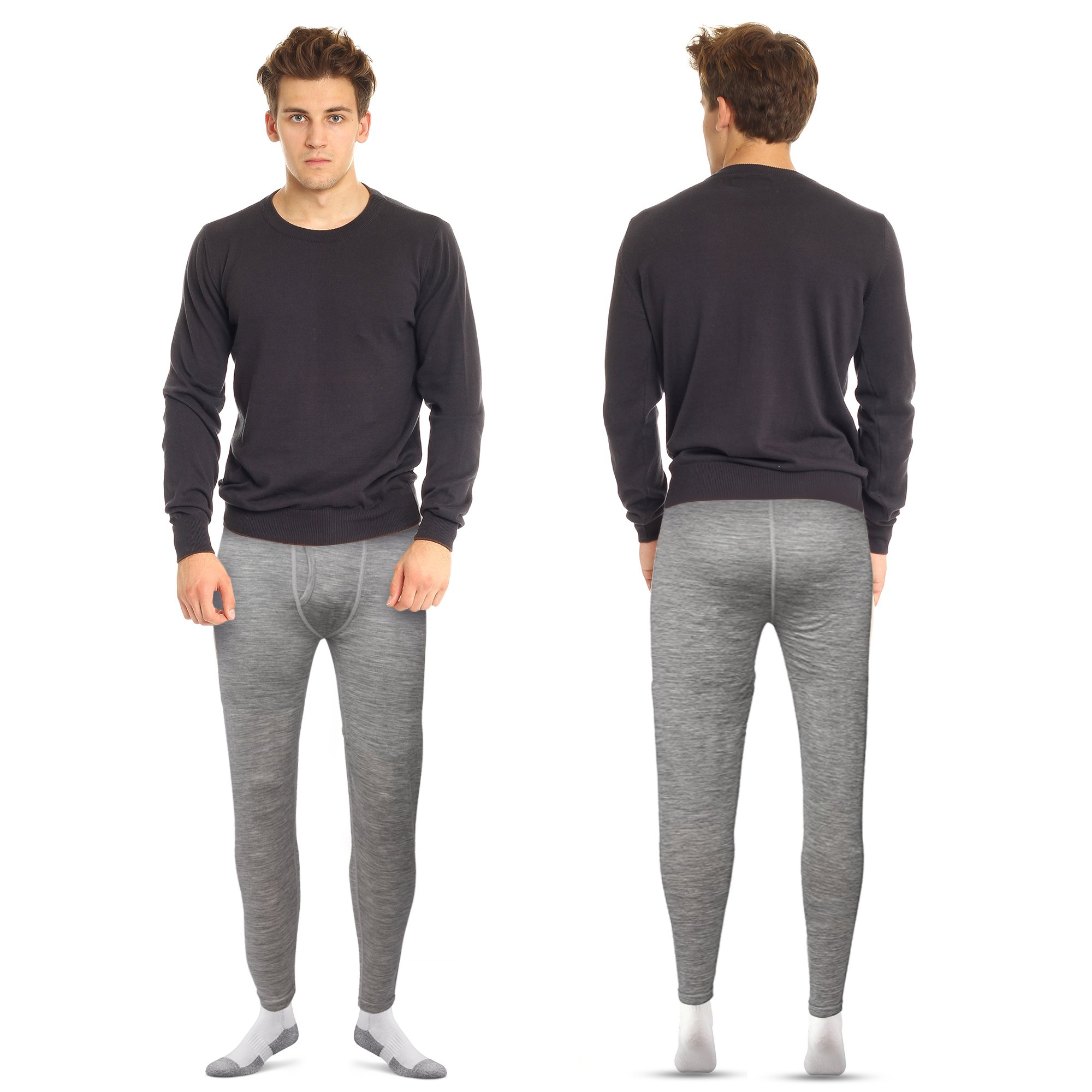 7EVEN 100% Merino Wool Mens Base Layer Bottom (Grey, XL) by 7EVEN (Image #4)