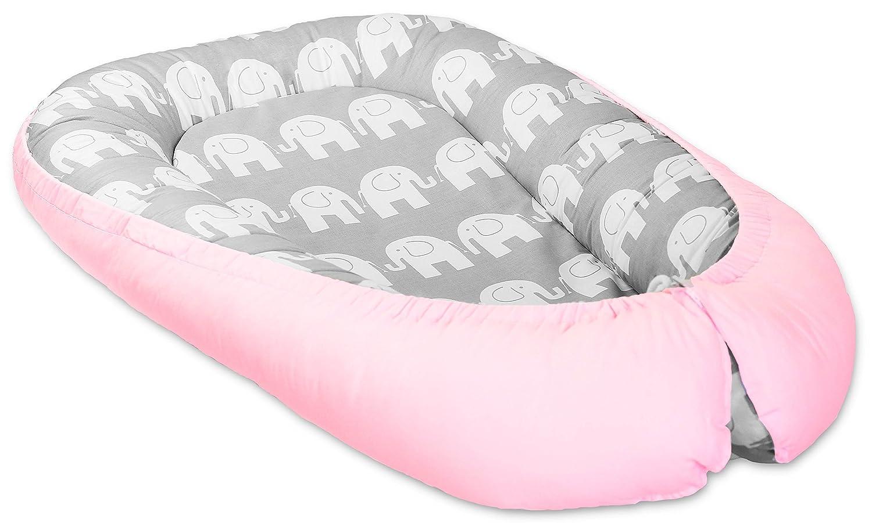 Cocoon Baby Reversible Infant Sleep NEST Cushion Bed with Soft Insert (Zig zag/Small White Stars on Grey) Babymam