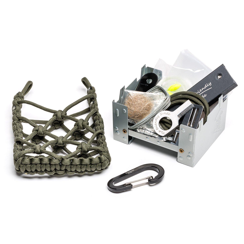 The Friendly Swede Estufa de camping con kit de supervivencia, bolsa de paracord – estufa de madera para viajes, iniciador de fuego, herramientas de pesca, ...