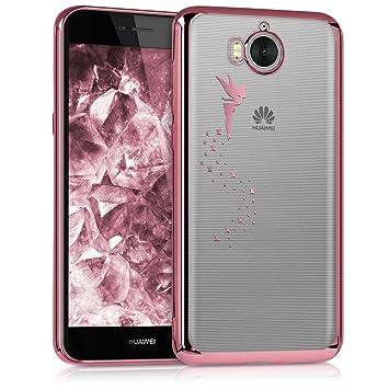 kwmobile Funda compatible con Huawei Y6 (2017) - Carcasa de TPU con diseño de hada en oro rosa / transparente