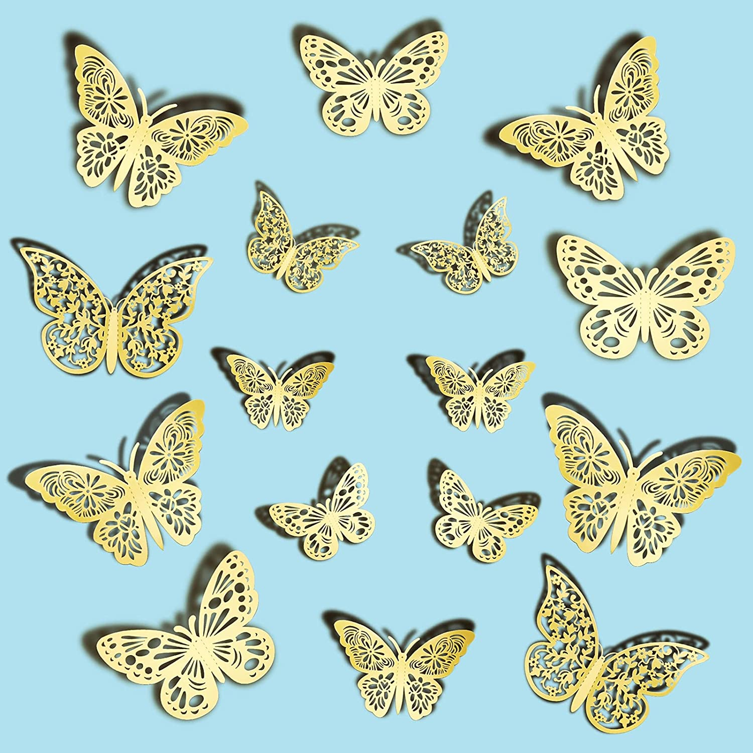 Ryangic 3D Butterfly Wall Decor 36pcs Shiny Gold Butterflies Wall Stickers 3 Sizes & 3 Hollow-Carved Design Butterfly Wall Decals DIY Butterfly Decorations for Bedroom Living Room Home Party (Gold)