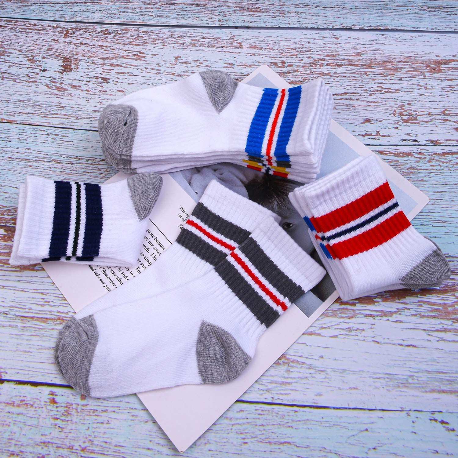 Cooraby 15 Pack Boys Crew Socks Classics Ribbed Support Athletic Kids Socks