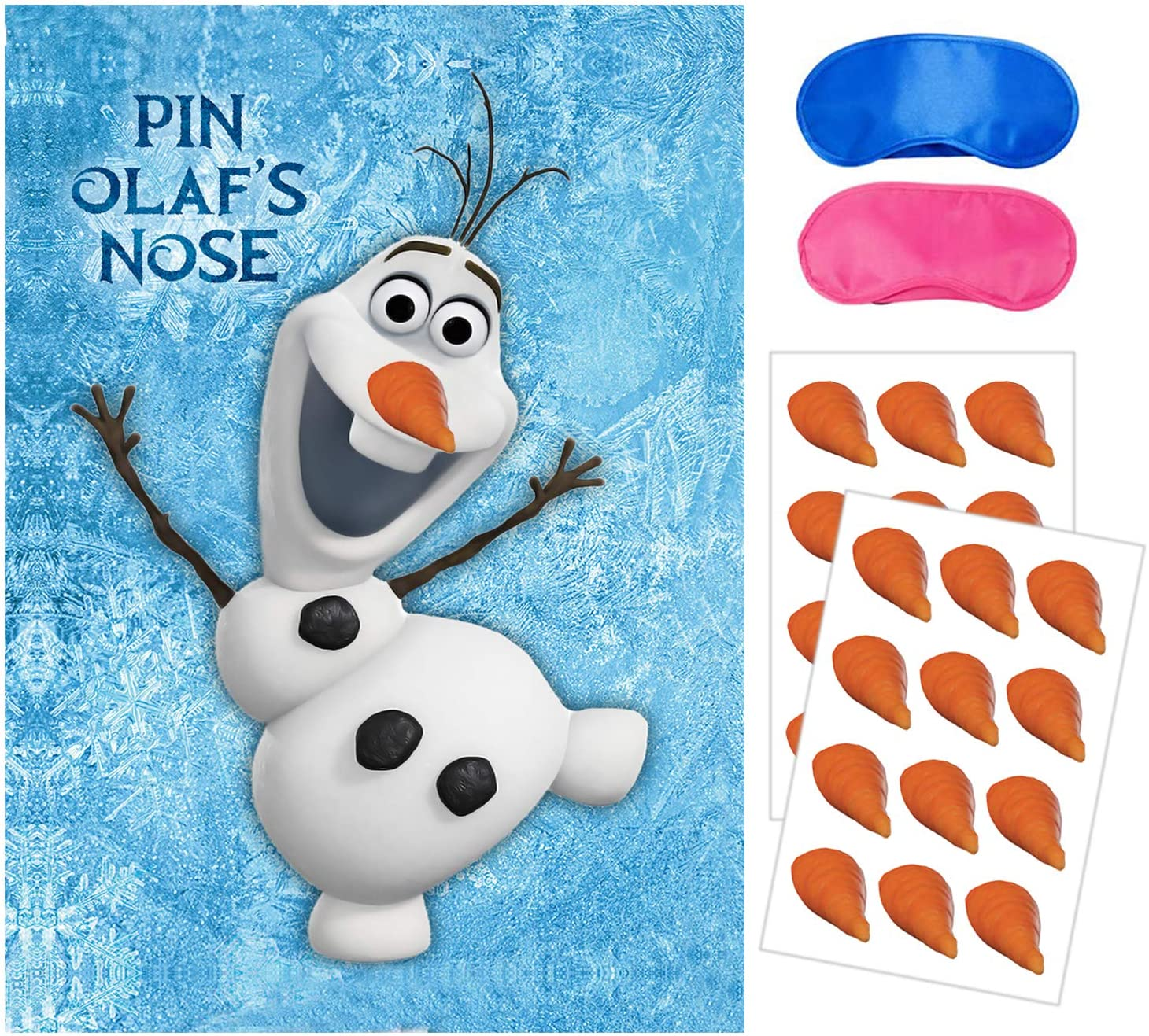 Eazyco Froze Party Supplies, Pin The Nose on Olaf, Froze Party Games, Large Poster 24PCS Nose Stickers for Frozen Theme Birthday Baby Shower Party Favors Decorations