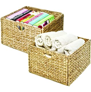 Beautiful Seville Classics Hand Woven Water Hyacinth Storage Baskets, 2 Pack