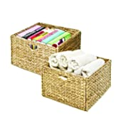 Seville Classics Hand-Woven Water Hyacinth Storage Baskets 2-Pack