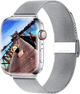 Yaber Stainless Steel Mesh Replacement Band Compatible for Aple Watch 38 mm 40mm 42 mm 44mm Series 6/SE/5/4/3/2/1 (Silver, 38MM/40MM)