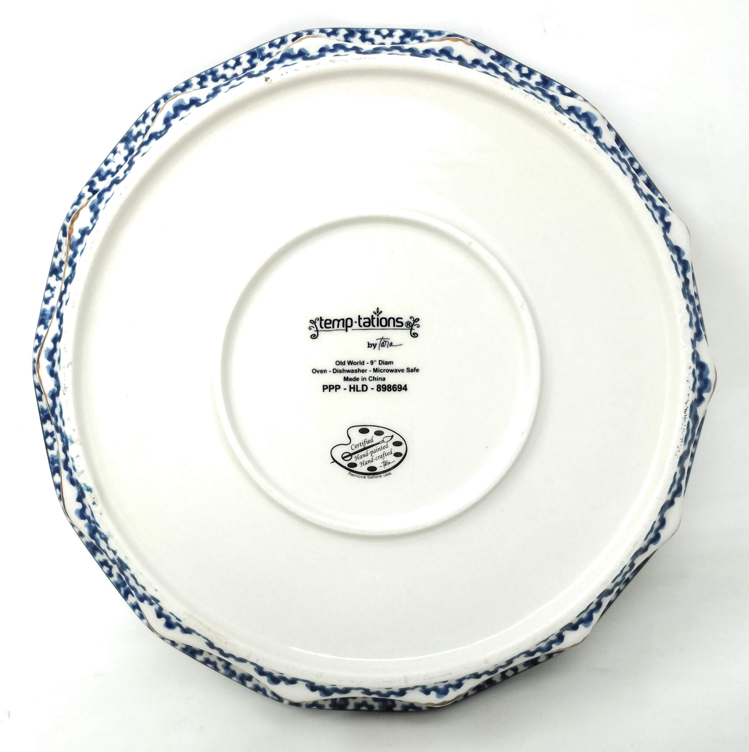 Temp-tations 10'' x 2.25'' Pie Pan w/Cover, Scalloped, Deep Dish Pizza or Quiche (Old World Blue) by Stoneware (Image #7)
