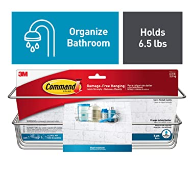 Command FBA_BATH31-SN-ES Shower, Satin Nickel, 1-Caddy, 1-Prep Wipe, 4-Large Water-Resistant Strips (BATH31-SN-ES), 1