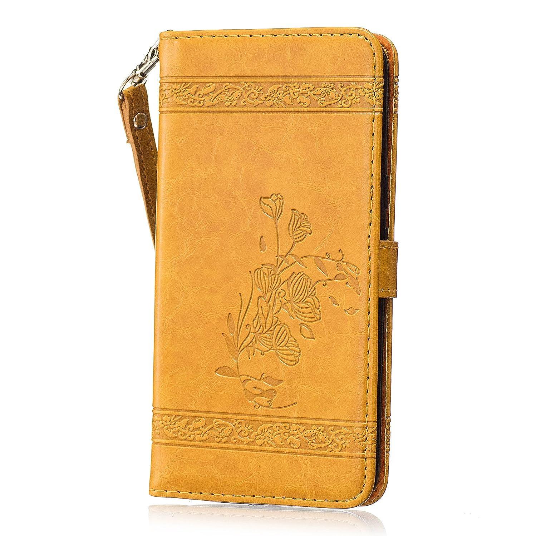 Cozy Hut Motorola Moto G4 / G4 Plus Premium Vintage Genuine Leather Flip Folio Leather Wallet Hü lle with Magnetisch Schaltflä che Ledertasche Schutzhü lle Etui Hü lle mit Standfunktion Cover