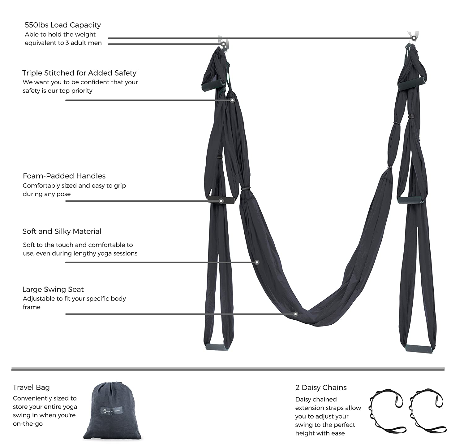 Amazon aerial yoga swing ultra strong antigravity yoga amazon aerial yoga swing ultra strong antigravity yoga hammocksling for air yoga inversion exercises 2 extensions straps included black fandeluxe Choice Image