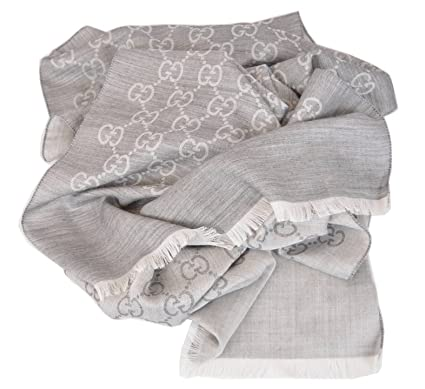 Image Unavailable. Image not available for. Color  Gucci 165904 Women s Silver  Grey Silk Wool GG Guccissima Monogram Scarf ... 728cf52b96d