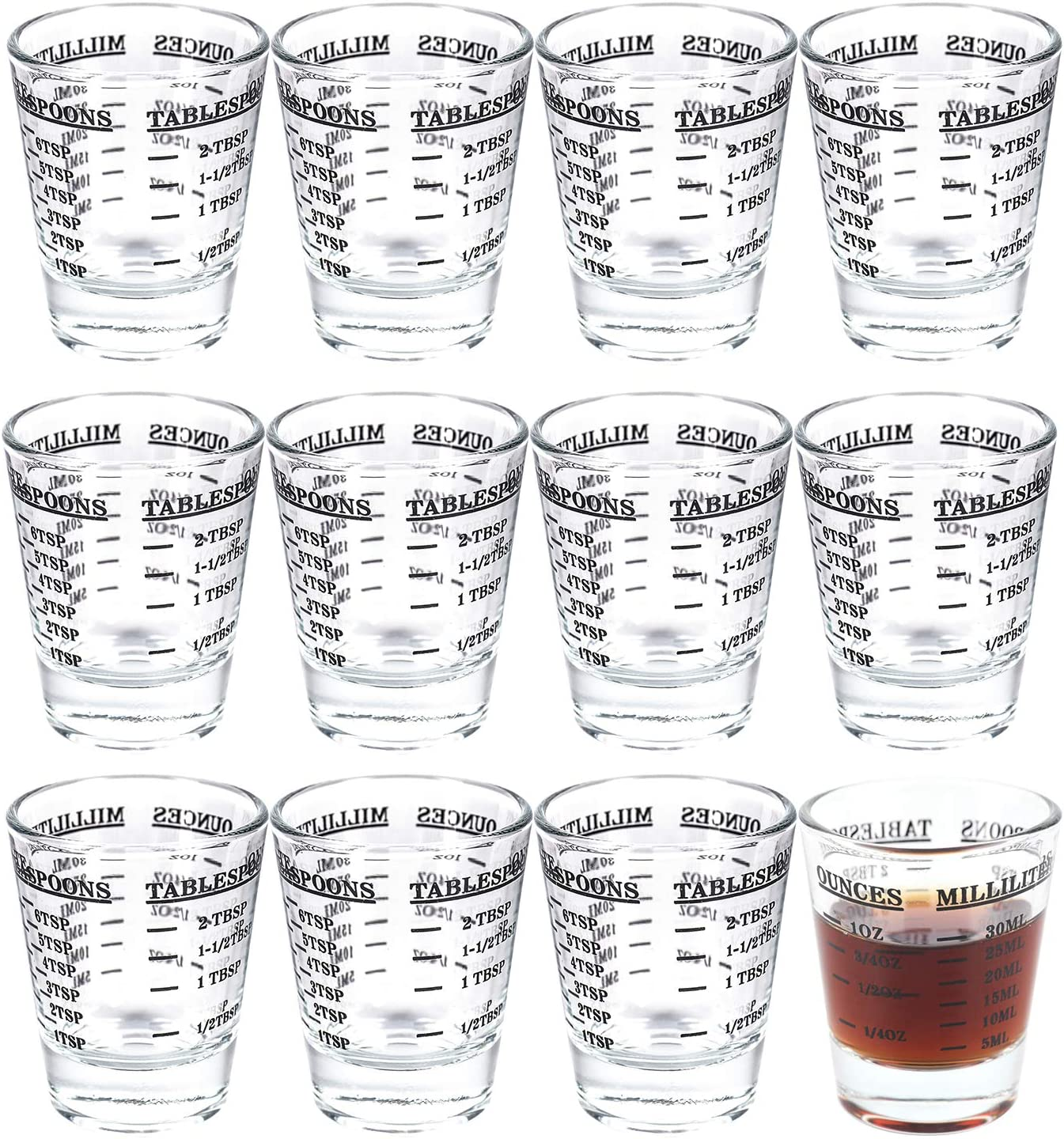 Kingrol 12 Pack Shot Glasses with Heavy Base, 1 Ounce Measuring Glass