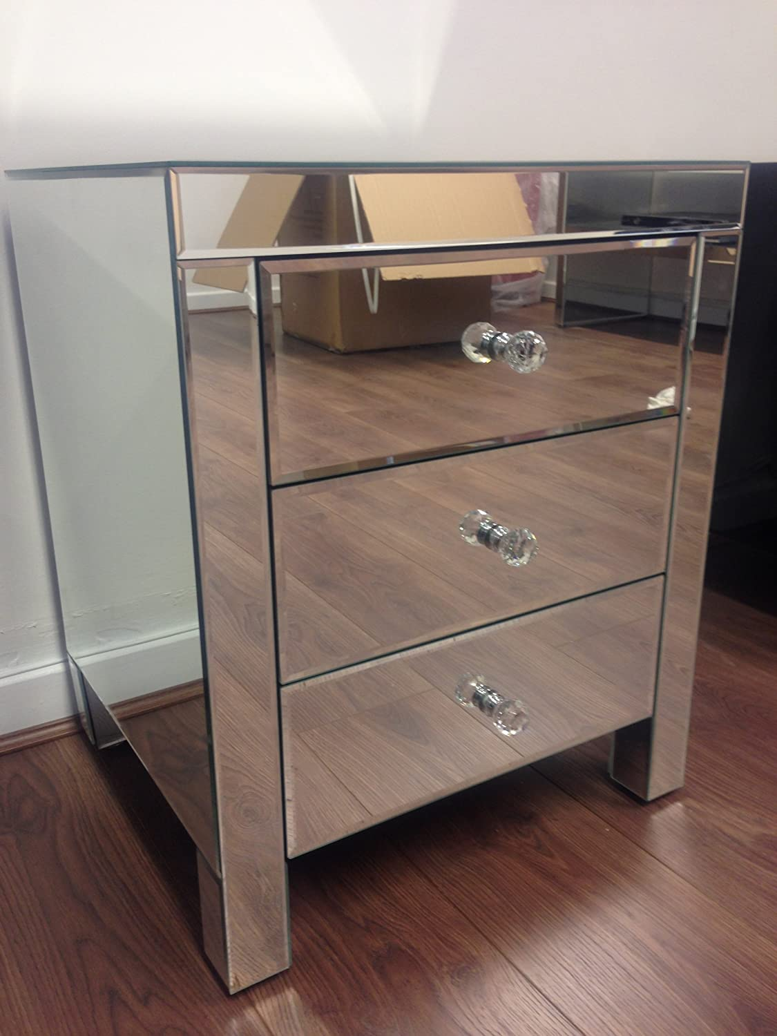 Mirrored Furniture Mirrored Furniture Bedside Table Cabinet 3 Drawers X 1 Sophie