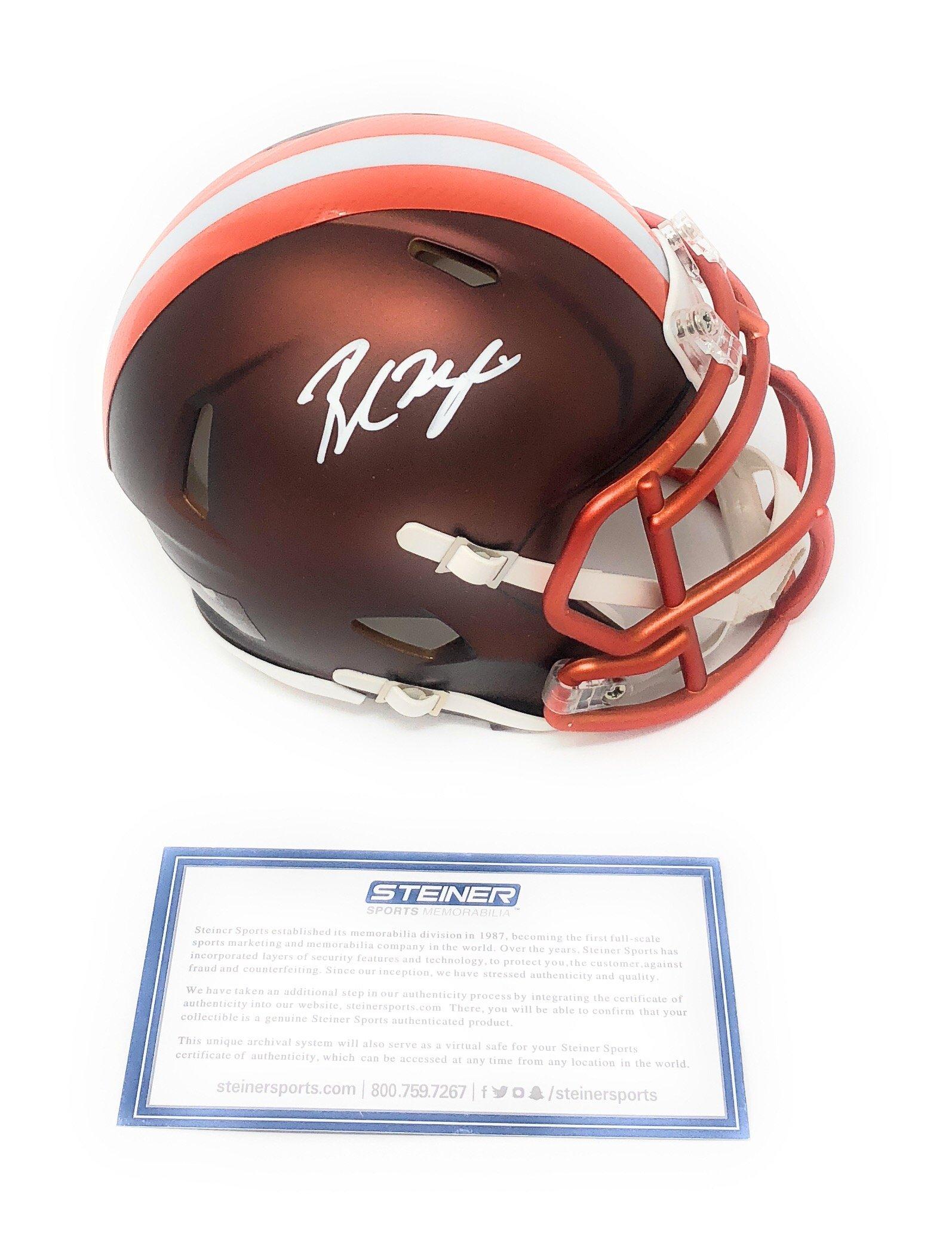 Baker Mayfield Cleveland Browns Signed Autograph BLAZE Mini Helmet Steiner Sports Certified