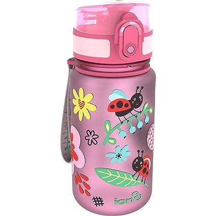 Botella de agua para niños «Ladybugs» de Ion8, a prueba de derrames,