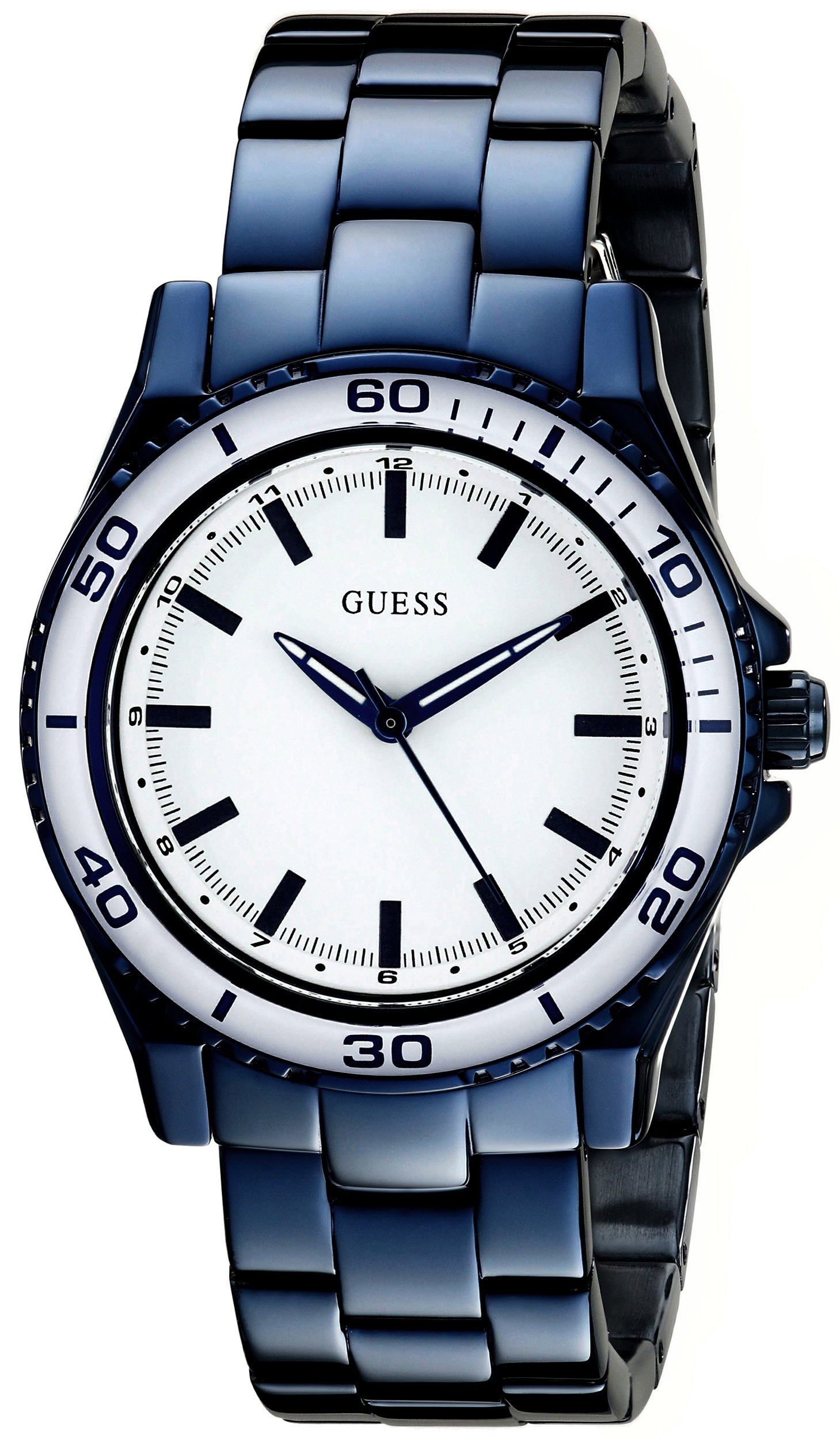 GUESS Women's U0557L3 Iconic Blue Mid-Size Stainless Watch with White Top Ring