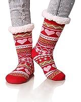 Dosoni Women's Winter Snowflake Fleece Lining Knit Christmas Knee Highs Stockings Slipper Socks