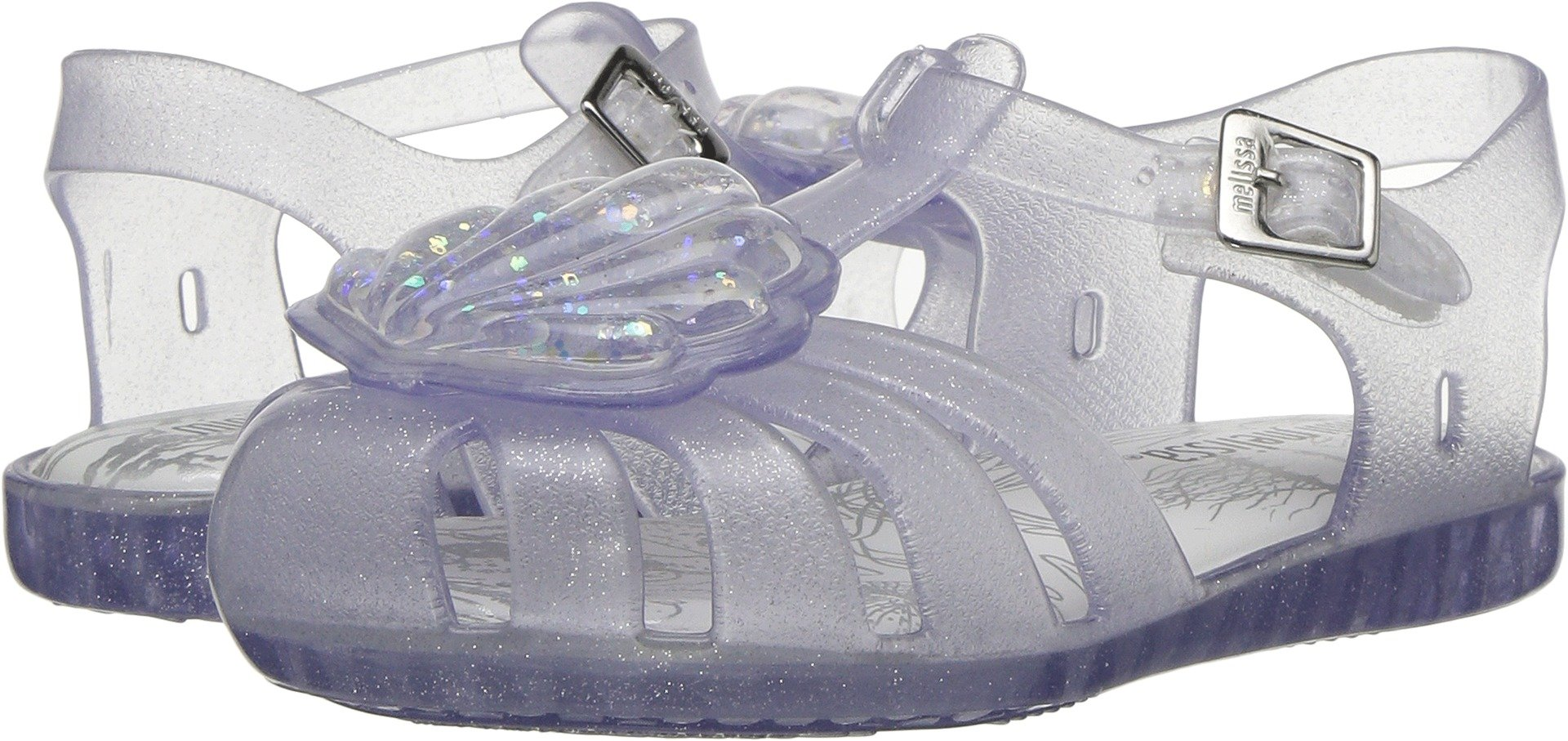 Mini Melissa Girls' Mini Aranha XII Flat Sandal, Clear Glass Sparkly, 8 Medium US Toddler by Mini Melissa