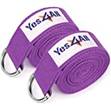 Yes4All Cotton Yoga Strap 8 ft with Metal D-Ring - Multi Color Available (Pair or Single)