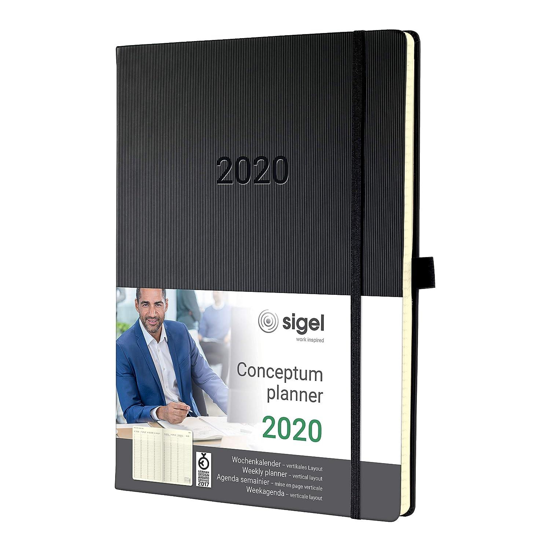 SIGEL C2018 Agenda semainier 2020 Conceptum, couverture rigide, 22,5 x 31,5 cm, vertical, noir
