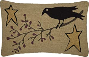VHC Brands Kettle Grove Crow and Star Hooked Textured Wool Primitive Bedding Hand Sewn 22x14 Filled Pillow, Khaki Tan
