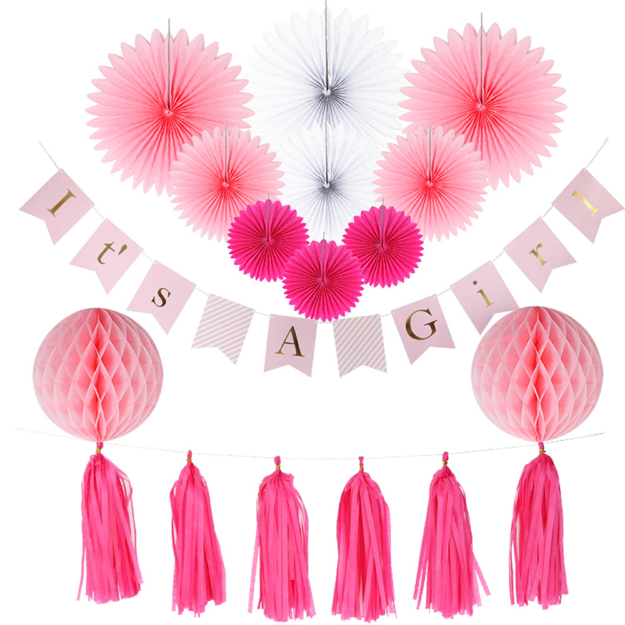 Baby Shower Decorations for Girl, It's A Girl Banner,Pink and Gold Baby Shower Decorations, Tissue Paper, Fans, Honeycomb Paper Balls, Tassels, 18pcs., Hanging ,Party Supplies ,Indoor/Outdoor