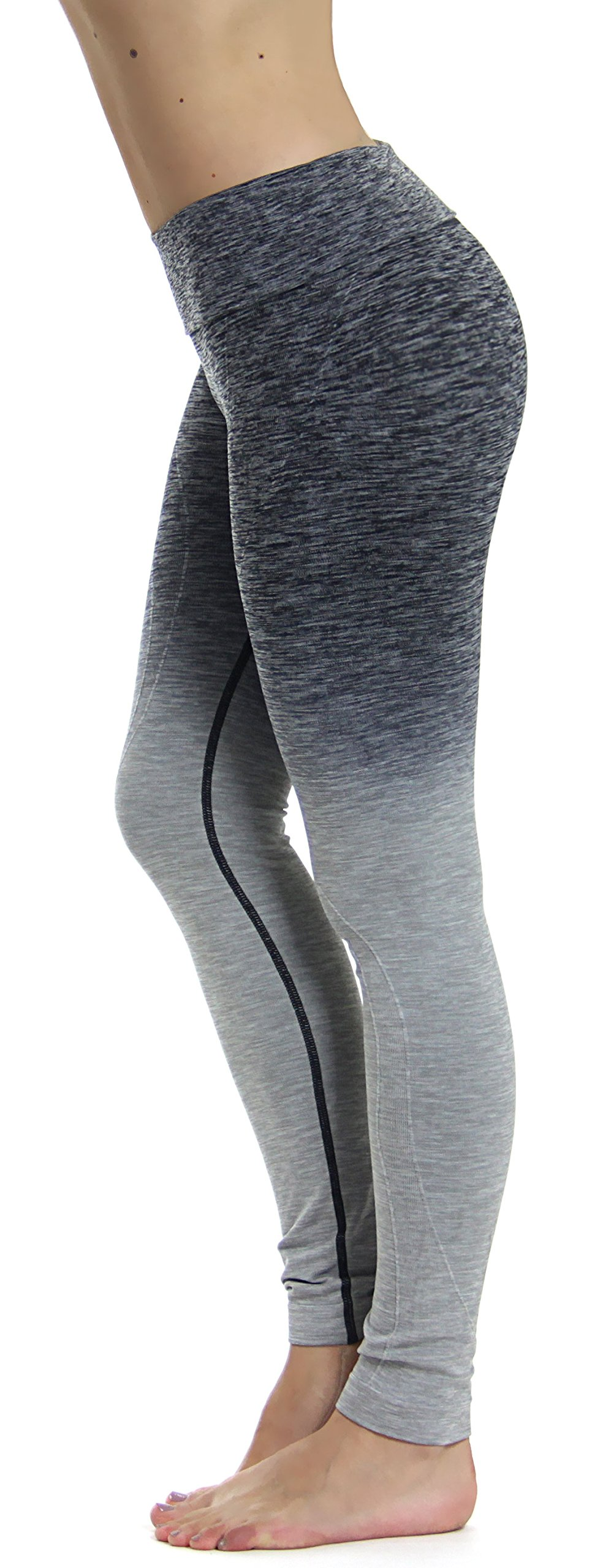 Prolific Health Fitness Power Flex Yoga Pants Leggings XS - XL (XXL (US Size 18-20), Ombre Gray Plus Size)