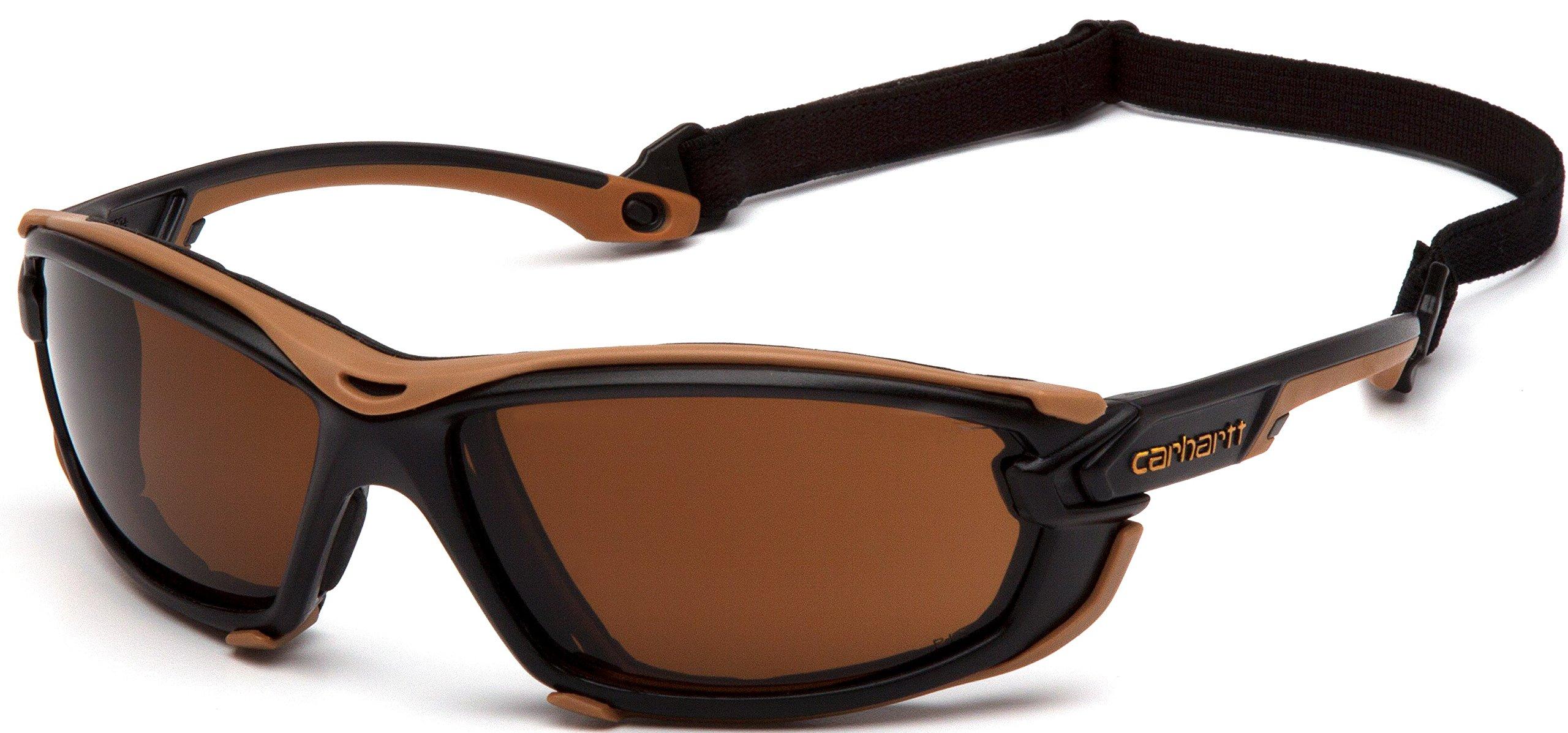 Carhartt Toccoa Safety Glasses, Black/Tan Frame, Sandstone Bronze H2MAX Anti-Fog Lens