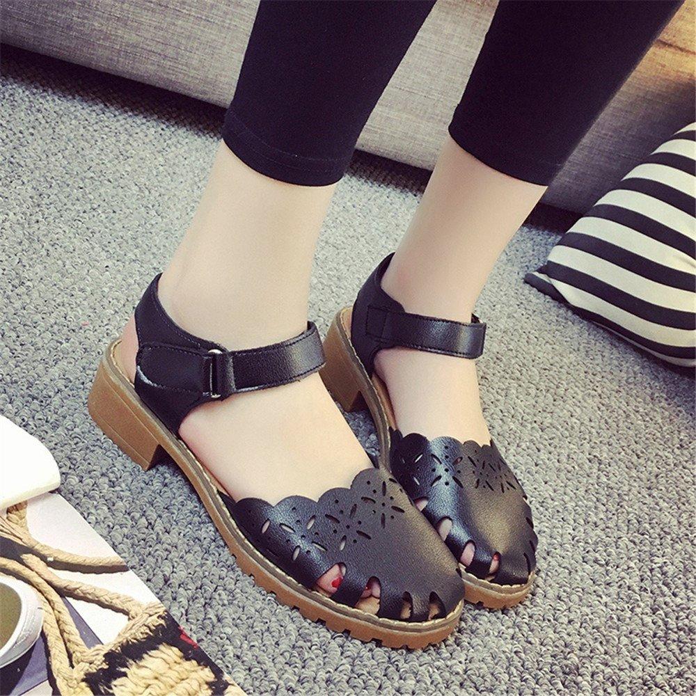 XZGC Sandalen Weiblichen Glatze Gemütliche Flache Unterseite Retro Schuhe, 36 EU, Schwarz