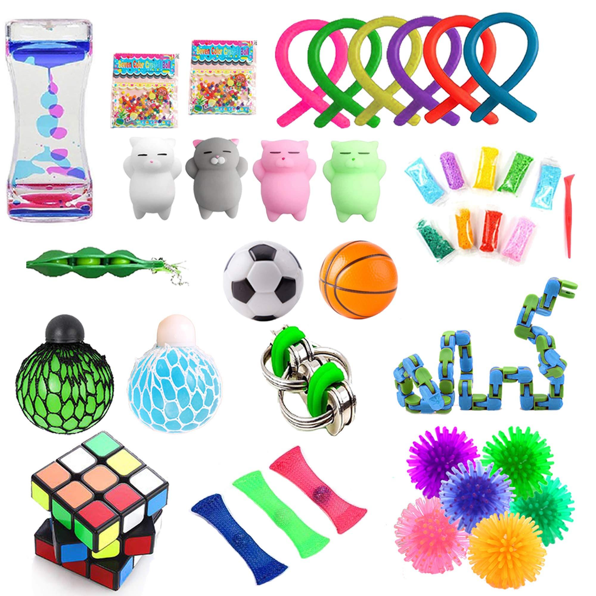 GONGYIHONG 40 Pack Sensory Fidget Toys Bundle, Fidget Cube/Liquid Motion Timer /Bike Chain/Soybeans Squeeze Grape Ball- Perfect for Kids&Adult…