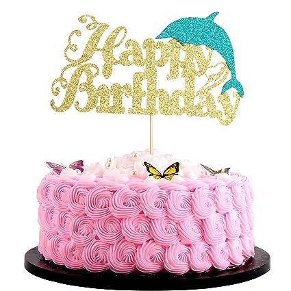 Marvelous Artczlay Creative Happy Birthday Cake Topper Golden Blue Shiny Funny Birthday Cards Online Alyptdamsfinfo
