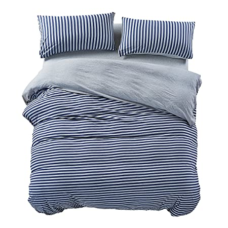 Pure Era Heather Jersey Knit Cotton Bedding Sets Striped Duvet Cover