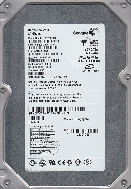 ST380011A Seagate 80GB IDE 3.5 Hard Drive 3JV PN 9W2003-033 FW 8.16 AMK