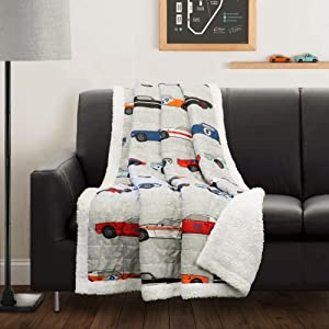 "Lush Decor Lush Décor Race Cars Sherpa Throw Blanket, 60"" x 50"", Blue/Orange"