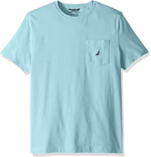 34b85c851b99 Nautica Men's Solid Crew Neck Short Sleeve Pocket T-Shirt, Bright Aqua,  Large