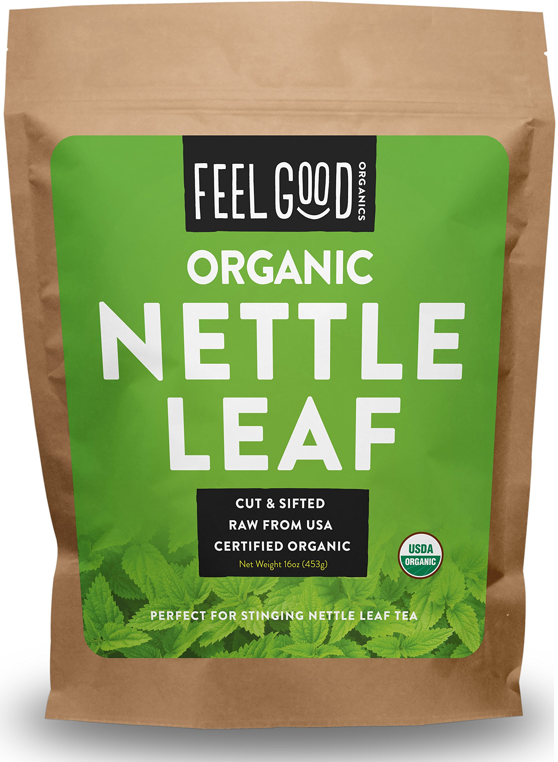 Organic Nettle Leaf - Cut & Sifted - 16oz Resealable Bag - 100% Raw From U.S.A. - by Feel Good Organics