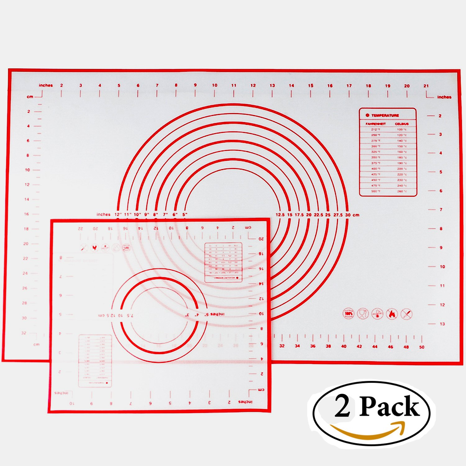 Silicone Baking Mat Set of 2, Non-stick Cooking Mat/Macaron Mat/Dough Rolling Mat with Measurements, Large 24'' x 16'' Small 11.41'' x 10.23''