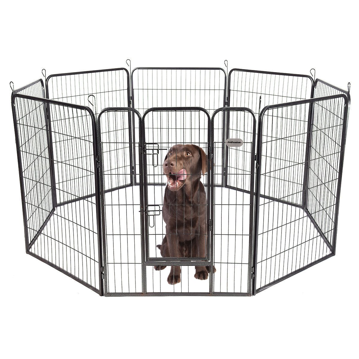 PetPremium Dog Pen Metal Fence Gate Portable Outdoor RV Play Yard | Heavy Duty Outside Pet Large Playpen Exercise | Indoor Puppy Kennel Cage Crate Enclosures | 40'' Height 8 Panel